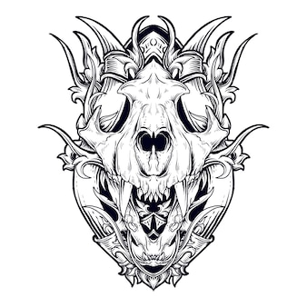 Tattoo and t-shirt design black and white hand drawn illustration tiger skull engraving ornament