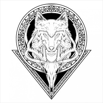 Tattoo and t-shirt design black and white hand drawn illustration wolf head human and deer skull in circle and triangle