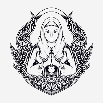 Tattoo and t shirt design black and white hand drawn muslim women in engraving ornament