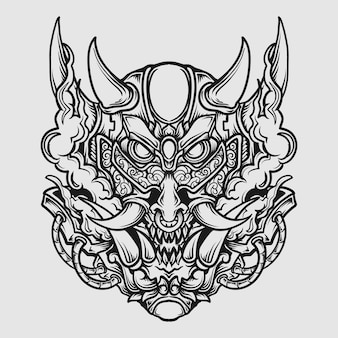 Tattoo and t shirt design black and white hand drawn oni mask engraving ornament
