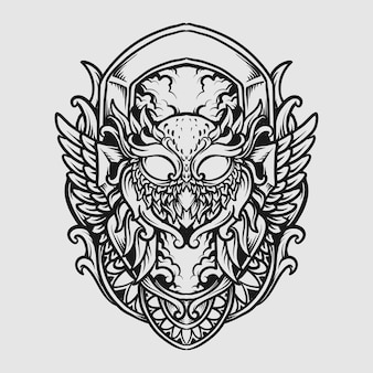 Tattoo and t shirt design black and white hand drawn owl engraving ornament