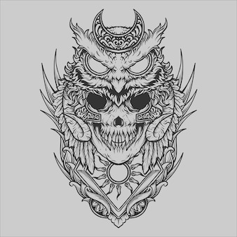 Tattoo and t shirt design black and white hand drawn owl skull engraving ornament