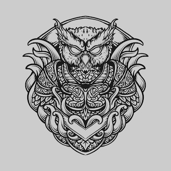 Tattoo and t shirt design black and white hand drawn owl warrior engraving ornament