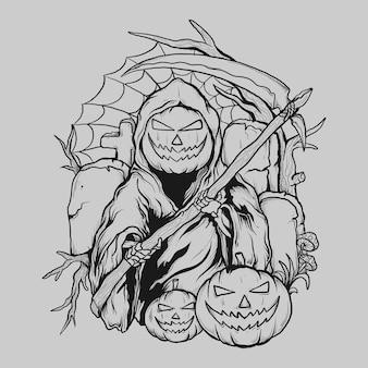 Tattoo and t shirt design black and white hand drawn reaper pumpkin
