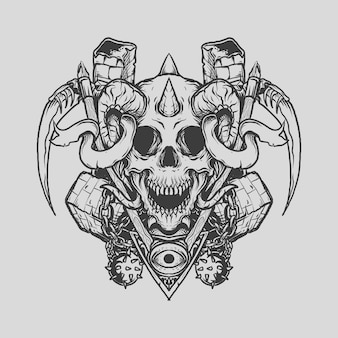 Tattoo and t shirt design black and white hand drawn reaper skull from hell engraving ornament