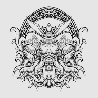Tattoo and t shirt design black and white hand drawn samurai octopus engraving ornament