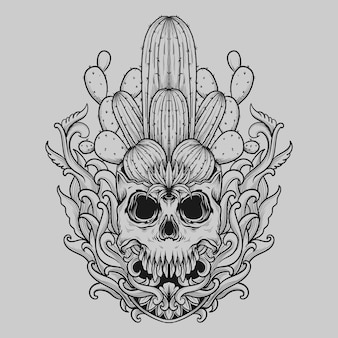 Tattoo and t shirt design black and white hand drawn skull cactus engraving ornament