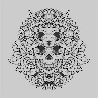 Tattoo and t shirt design black and white hand drawn skull and flower engraving ornament