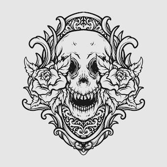 Tattoo and t shirt design black and white hand drawn skull and rose engraving ornament