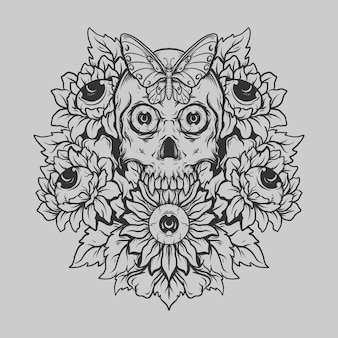 Tattoo and t shirt design black and white hand drawn skull and sun flower  engraving ornament