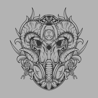Tattoo and t shirt design black and white hand drawn skull with gas mask engraving ornament