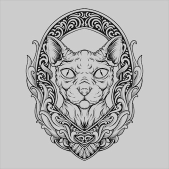 Tattoo and t shirt design black and white hand drawn sphynx cat engraving ornament