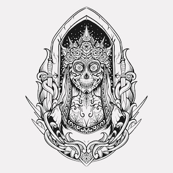 Tattoo and t shirt design black and white hand drawn sugar skull queen engraving ornament