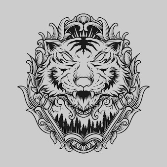 Tattoo and t shirt design black and white hand drawn tiger engraving ornament