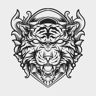 Tattoo and t shirt design black and white hand drawn tiger head engraving ornament