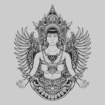 Tattoo and t shirt design black and white hand drawn traditional angel women  engraving ornament