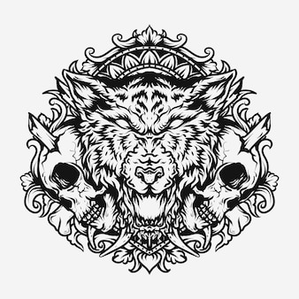 Tattoo and t-shirt design black and white hand drawn  wolf and skull engraving ornament