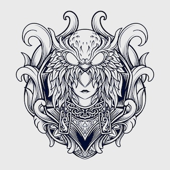 Tattoo and t shirt design black and white hand drawn women and owl