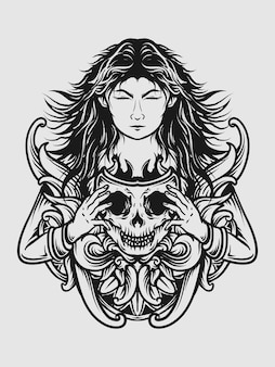 Tattoo and t shirt design black and white hand drawn women skull mask engraving