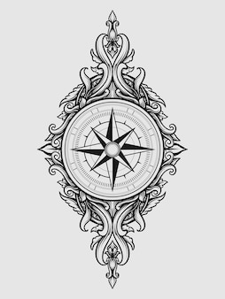 Tattoo and t shirt design compass engraving ornament