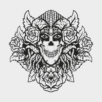 Tattoo and t shirt design devil skull and rose engraving ornament