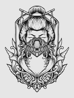 Tattoo and t shirt design geisha gas mask engraving ornament