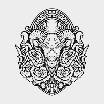 Tattoo and t shirt design goat and rosae engraving ornament