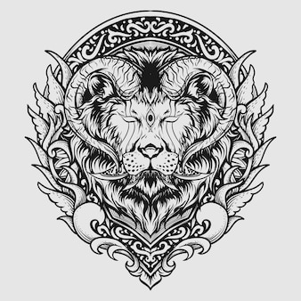 Tattoo and t shirt design horned lion engraving ornament