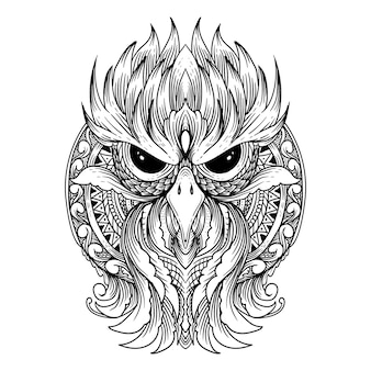 Tattoo and t shirt design mandala and owl premium