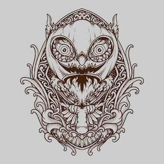 Tattoo and t shirt design owl and halloween pumpkin mask engraving ornament