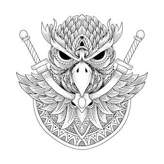 Tattoo and t shirt design owl and mandala
