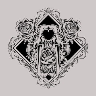 Tattoo and t shirt design sabertooth tiger skull and rose in square border frame premium