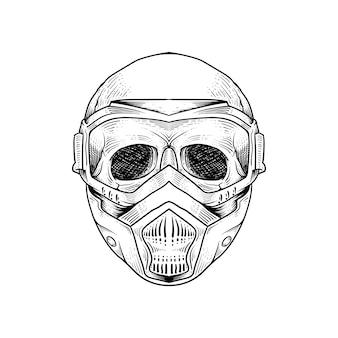 Tattoo and t shirt design skeleton wearing gas resparator mask premium