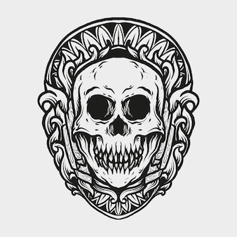 Tattoo and t shirt design skull engraving ornament
