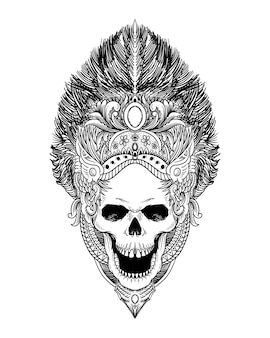 Tattoo and t shirt design skull isolated premium vector