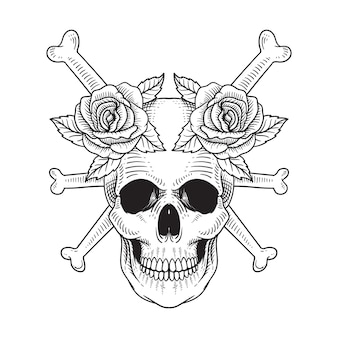 Tattoo and t shirt design skull and rose hand drawn