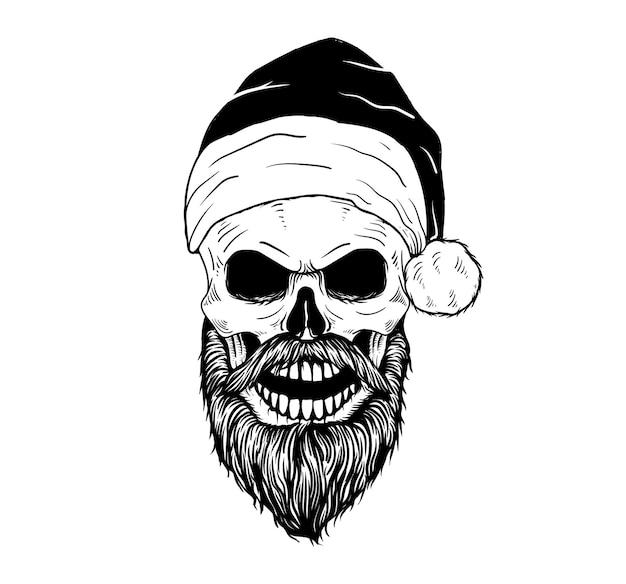 Tattoo and t shirt design skull santa clous black and white