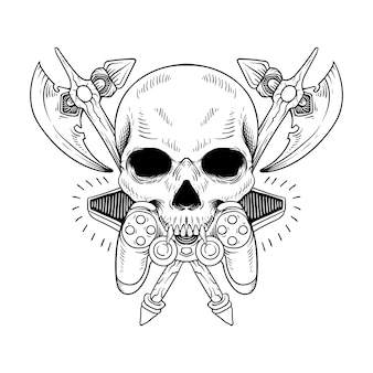 Tattoo and t shirt design skull with weapon and game line art black and white