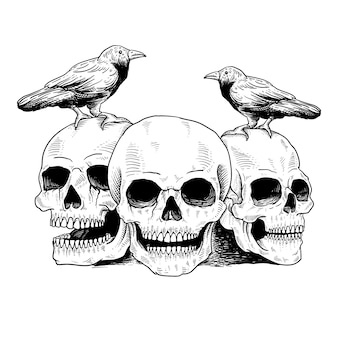 Tattoo and t shirt skull and bird