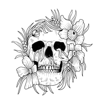 Tattoo and t shirt skull and flower  line art