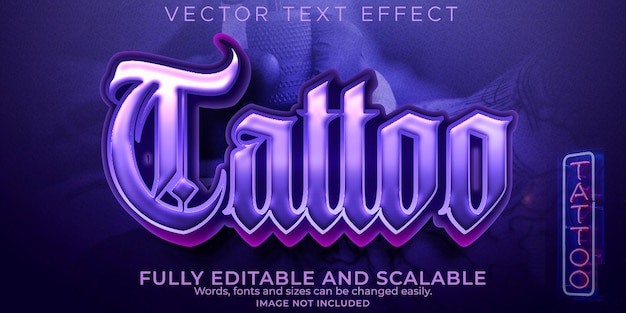 Tattoo text effect, editable vintage and artist text style