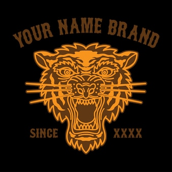 Tattoo tiger head logo for clothing