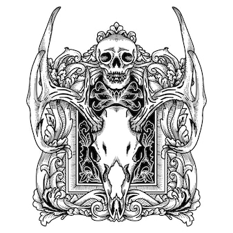 Tattoo and tshirt design deer skull with frame border ornament hand drawn premiun