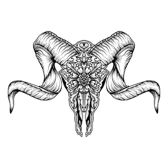 Tattoo and tshirt design goat horn skull floral ornament premium