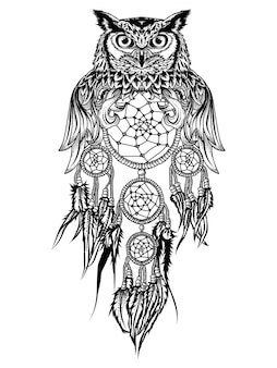 Tattoo and tshirt design owl and dream catcher premium
