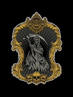 Tattoo and tshirt design reaper in frame ornament