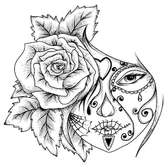 Tattoo and tshirt design  women tatto with rose Premium Vector