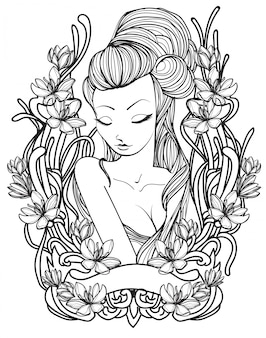 Tattoo women and flower hand drawing sketch black and white