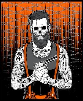 The tattooed beard man held a gun