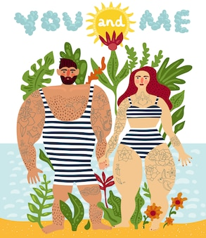 Tattooed couple cartoon